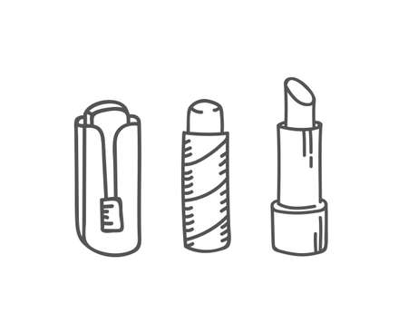 History of lipstick tubes set, vector illustration collection of lip make up of different shapes and styles make-up cosmetic packagse isolated on white