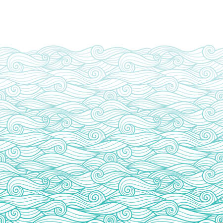 Waves pattern horizontally seamless border background blue gradient wavy swirls woth white outline line art and white copy space Ilustração