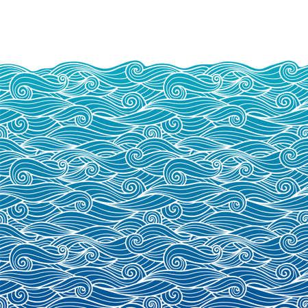 Motif de vagues horizontalement frontière transparente fond bleu dégradé ondulé tourbillonne woth contour blanc dessin au trait et espace de copie blanc Vecteurs