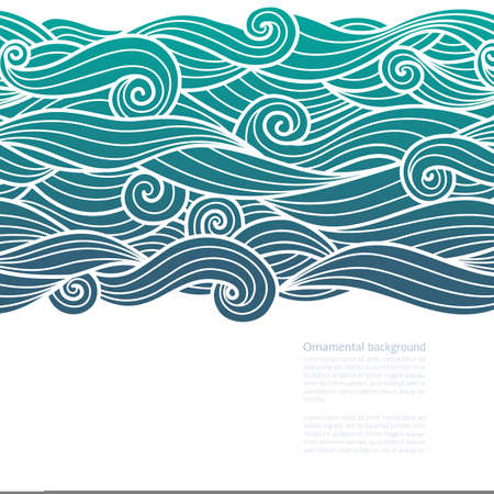 Waves pattern horizontally seamless design of water background green blue gradient wavy swirls outline with line art white vector illustration with copy space