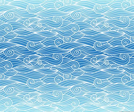 Waves pattern seamless water background blue gradient wavy swirls with white line art vector illustration for package, phone case art and decoration