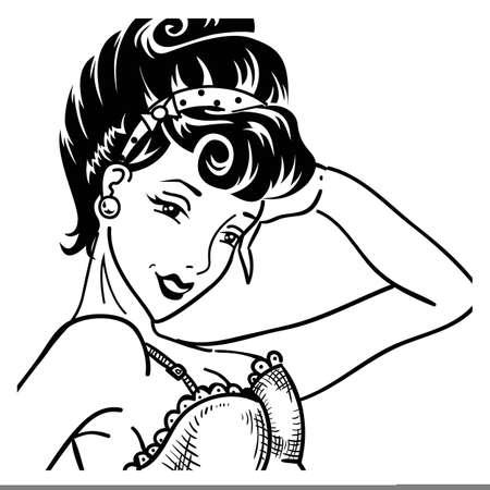 Vintage escuchar pin up retrato de mujer en corsé retro dama en pop art estilo de los años 50 personaje de comics en blanco y negro sonriendo y asombrado ilustración vectorial de cerca en blanco
