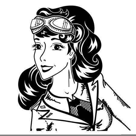 Vintage pin up woman pilot portrait in military uniform and goggles retro lady in pop art 1950's style black and white comics character smiling and amazed vector illustration close up on white