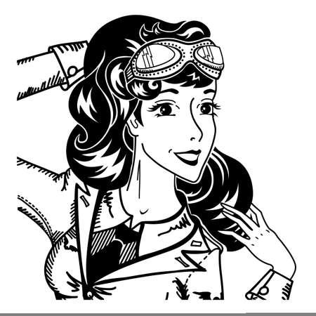 Vintage pin up retrato de piloto de mujer en uniforme militar y gafas retro dama en estilo pop art de los años 50 personaje de comics en blanco y negro sonriendo y asombrado ilustración vectorial de cerca en blanco