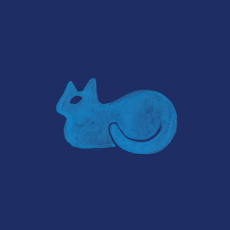 Cat in nordic design style blue pet sitting as bun and watching  hand drawn pastel colored in modern rustic scandinavian style llustration