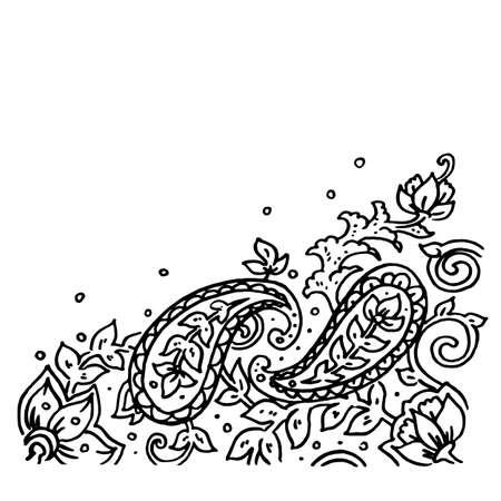 Vector de adorno de Paisley aislado sobre fondo blanco, encaje de adorno de grunge dibujado a mano en estilo kalamkari, arte turco o indio con espacio de copia para tarjetas Ilustración de vector