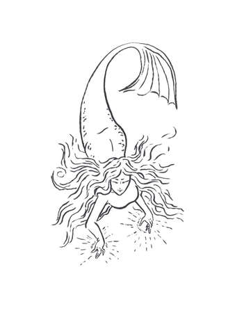 Mermaid illustration black isolated on white, coloring page or fairy tale illustration, mermaid witch making magic casting fireballs or lightning progectiles Zdjęcie Seryjne