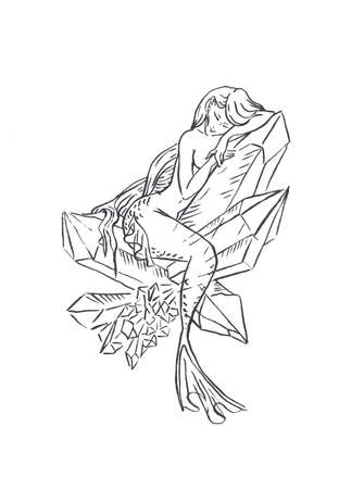 Mermaid illustration black isolated on white, coloring page or fairy tale illustration, mermaid sitting on crystal meditating, aura and mental health, alternative medicine Banco de Imagens
