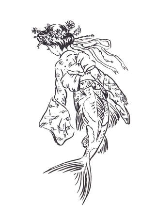 Mermaid Koi carp in Heian era vintage retro traditional Japanese dress, Japanese antique fashion, black ink sketch illustration isolated on white, coloring page or fairy tale book
