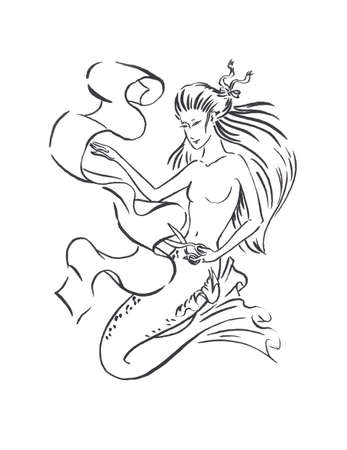 Mermaid tailor cuts fabric with scissors, sewing atelier and tailored clothes concept, black ink sketch illustration isolated on white, coloring page or fairy tale book
