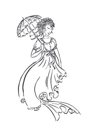 Mermaid in vintage retro dress with sun protecting umbrella, victorian or georgian era fashion, black ink sketch illustration isolated on white, coloring page or fairy tale book Banco de Imagens