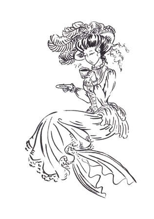 Mermaid in Victorian era vintage retro dress holding cup of tea or coffee, black ink sketch illustration isolated on white, coloring page or fairy tale book Stock Photo