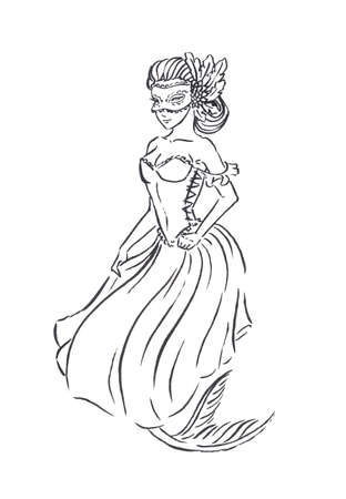 Mermaid in carnival mask and Baroque era Venetian ball gown, vintage retro fashion, black ink sketch illustration isolated on white, coloring page or fairy tale book