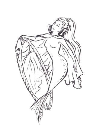 Mermaid vampire in cloak with no reflection in mirror, Halloween costume spooky mermaid, black ink sketch illustration isolated on white, coloring page or fairy tale book
