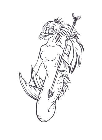 Mermaid tribal warrior with spear and scull helmet, black ink sketch illustration isolated on white, coloring page or fairy tale book