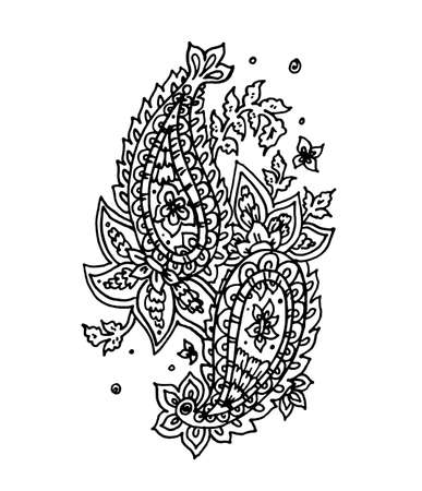 Paisley ornament vector isolated on white background, hand drawn grunge ornament lace in kalamkari style, turkish or indian art with copy space for cards