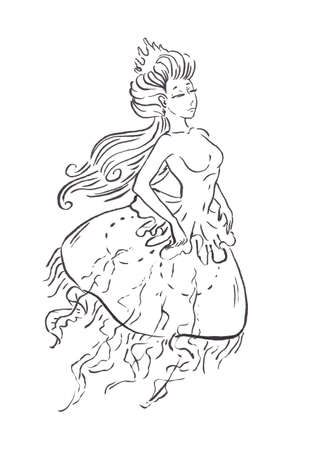 Mermaid jellyfish queen in Renaissance vintage retro dress in crown, black ink sketch illustration isolated on white, coloring page or fairy tale book Banco de Imagens