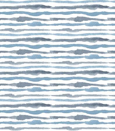 Aquarell-Indigo-Streifen nahtloses Muster, handgezeichnete gestreifte endlose geometrische Ornamente in maskuliner blaugrauer Indigo-Dunkelfarbpalette. Standard-Bild