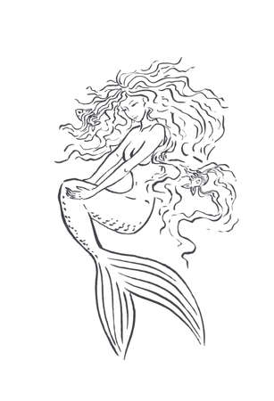 Mermaid brushing her hair with comb fishes, haircare and hairdress salon concept, black ink sketch illustration isolated on white, coloring page or fairy tale book Stok Fotoğraf