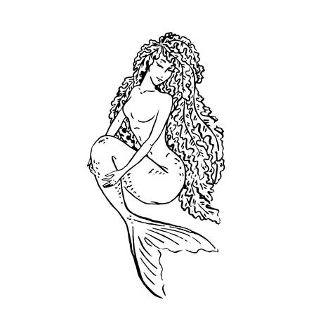 Vector mermaid with laminaria hair
