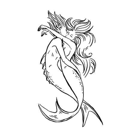 Vektor Meerjungfrauen Liebhaber paar Mann und Frau küssen und umarmen