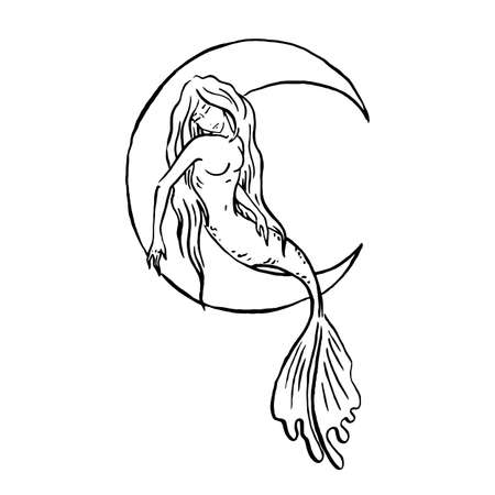 Vector Mermaid illustration black isolated on white, coloring page or fairy tale illustration, mermaid sleeping and riding new moon Archivio Fotografico - 133052216