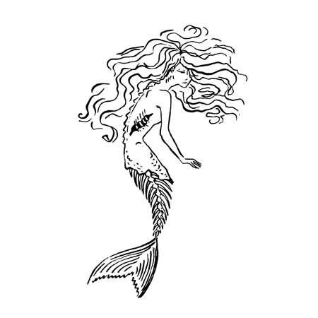 Vector mermaid zombie with fishbone for october spooky helloween