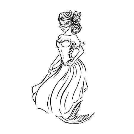 Vector mermaid in carnival mask and Baroque era Venetian ball gown, vintage retro fashion, black ink sketch illustration isolated on white, coloring page Archivio Fotografico - 135491314