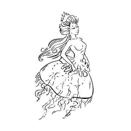 Vector mermaid jellyfish queen in Renaissance vintage retro dress in crown, black ink sketch illustration isolated on white, coloring page Illustration