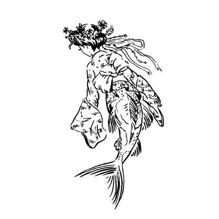 Vector mermaid Koi carp in Heian era vintage retro traditional Japanese dress, Japanese antique fashion, black ink sketch illustration isolated on white, coloring page