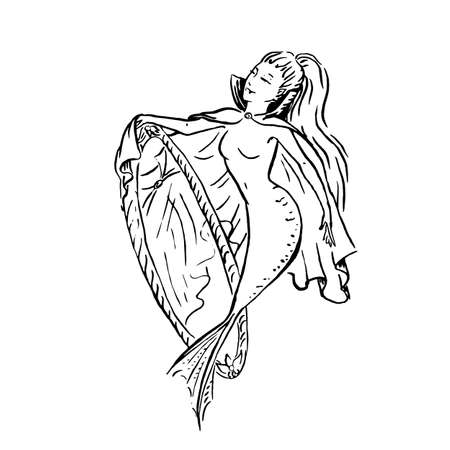Vector mermaid vampire in cloak with no reflection in mirror, Halloween costume spooky mermaid, black ink sketch illustration isolated on white, coloring page or fairy tale book