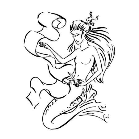 Wektor ilustracja krawiec syrenka tnie tkaninę nożyczkami, szycie atelier i koncepcja szytych na miarę ubrań, szkic czarnym tuszem ilustracja na białym tle, kolorowanie strony lub bajki