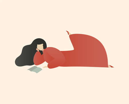 Woman Reading Book Laying and Chilling with Book, Romantic Daydreaming, Minimal Mid Century Flat Vector Illustration of Education and Leisure.