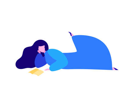 Woman Laying and Reading Book, Chilling with Book, Romantic Daydreaming, Minimal Mid Century Flat Vector Illustration of Education and Leisure Isolated on White  イラスト・ベクター素材