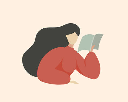 Woman Reading Book and Thinking, Sitting at Table, Reading Outloud, Minimal Middle Century Flat Vector Illustration Portrait about Education and Leisure Hobby. Ilustração