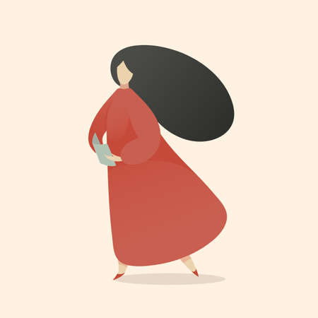 Woman Reading Book Walking and Thinking, Reading Outloud, Minimal Middle Century Flat Vector Illustration about Education and Reading Leisure Hobby.