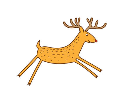 Vector Rudolph the Red Nose Deer Running, Happy Brown  Raindeer Vector Illustration Isolated on White Background, Winter Holidays Christmas Clip Art