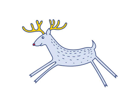 Vector Rudolph the Red Nose Deer Running, Happy Raindeer Vector Illustration Isolated on White Background, Winter Holidays Christmas Clip Art