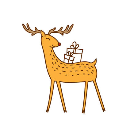 Vector Rudolph the Red Nose Deer Bringing Gifts, Happy Brown Raindeer with Present Boxes on his Back Vector Illustration Isolated on White Background, Winter Holidays Christmas Clip Art