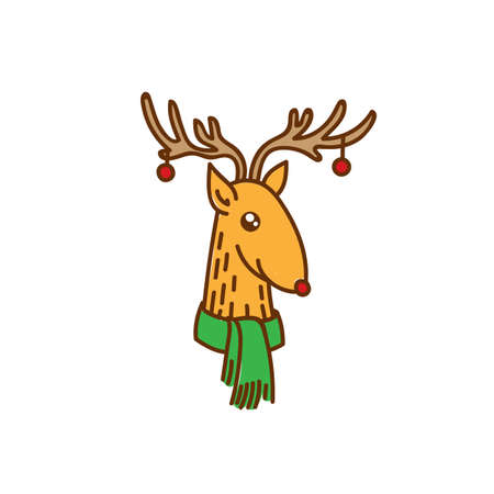 Vector Rudolph the Red Nose Deer Head Portrait, Happy Brown Raindeer with Baubles on Horns Vector Illustration Isolated on White Background, Winter Holidays Christmas Clip Art Illustration