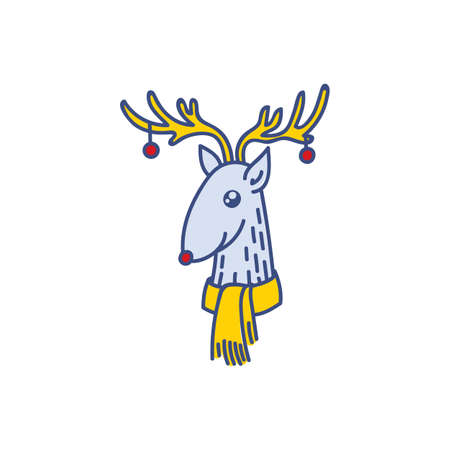 Vector Rudolph the Red Nose Deer Head Portrait, Happy Raindeer with Baubles on Horns Vector Illustration Isolated on White Background, Winter Holidays Christmas Clip Art