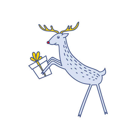 Vector Rudolph the Red Nose Deer Handling Gifts, Happy Raindeer with Present Box Vector Illustration Isolated on White Background, Winter Holidays Christmas Clip Art 向量圖像
