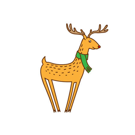 Vector Rudolph the Red Nose Deer Wearing Scarf, Happy Brown Raindeer Vector Illustration Isolated on White Background, Winter Holidays Christmas Clip Art