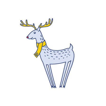 Vector Rudolph the Red Nose Deer Wearing Scarf, Happy Raindeer Vector Illustration Isolated on White Background, Winter Holidays Christmas Clip Art