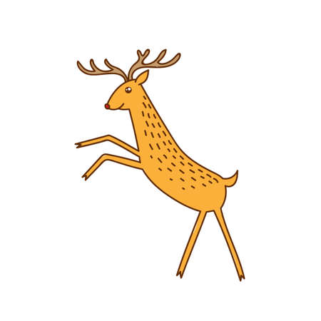 Vector Rudolph the Red Nose Deer Rearing Standing, Happy Brown Raindeer Vector Illustration Isolated on White Background, Winter Holidays Christmas Clip Art