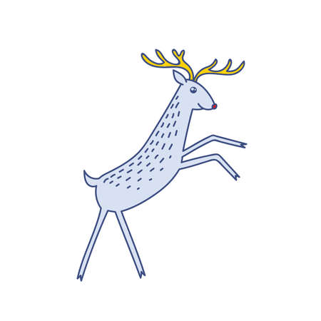 Vector Rudolph the Red Nose Deer Rearing Standing, Happy Raindeer Vector Illustration Isolated on White Background, Winter Holidays Christmas Clip Art
