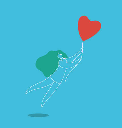 Woman Flying on Heart Balloon Feelings Freedom Concept, Relations and Valentine Holiday Lifestyle, Modern Mid Century Flat Vector Style Illustration