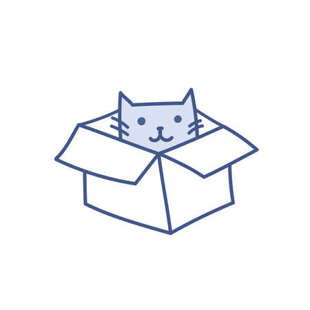 Funny catroon vector cat sitting in box. Happy smiling pet kitty in empty box, package and delivery concept. New friend vector illustration isolated on white.