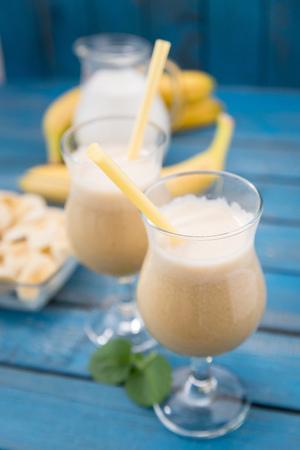 daiquiri: banana daiquiri in glass on a wooden rustic table