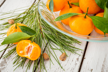 A glass plate of ripe orange clementine tangerines decorated with coniferous branch with fir-needles and pine nuts on white rustic wooden table Stock Photo